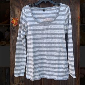 Express long sleeves white and grey striped shirt